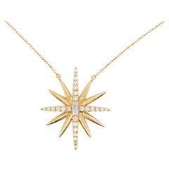 Diamond Starburst Necklace, 14 Karat Yellow Gold Designer Diamond Necklace