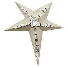 Diamond Starburst Pendant or Brooch 14 Karat White Gold Sandblast Finish