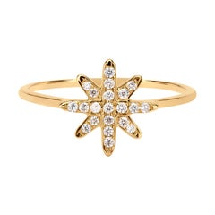 Diamond Starburst Ring in 18k Yellow Gold
