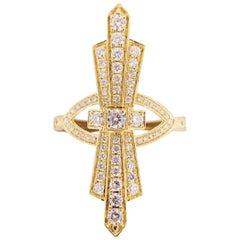 Art Deco Style Ring, 14K Yellow Gold Diamond Designer Ring