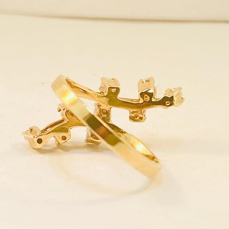 Modern Diamond Statement Ring 9 Diamond Trail Ring, .20 Carat Total Weight Diamonds For Sale