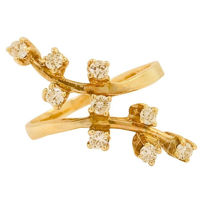 Diamond Statement Ring 9 Diamond Trail Ring, .20 Carat Total Weight Diamonds For Sale