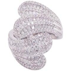 Diamond Statement Ring, Lush 14 Karat White Gold, Bombe, Fashion Band, Bypass