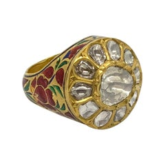 Diamond Statement Ring with Intricate Enamel Work Handcrafted in 22k Yellow Gold