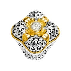 Diamond Sterling Silver & 18k Gold Floral Motif Ring
