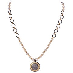 Diamond Sterling Silver Medallion Pendant Necklace with Pearls Gold Beads