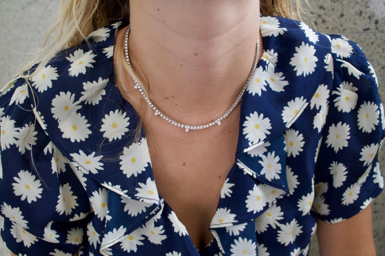 Diamond Straight Line Necklace in 18k 5 Round Brilliant Cut Diamonds weighing .40 carats approximately One Hundred and Forty Round Brilliant Cut Diamonds weighing 7.21 carats  7.61 carats in total diamond weight approximately [all Diamonds GH -