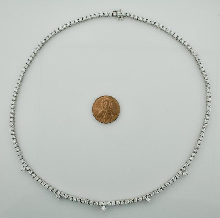 Diamond Straight Line Necklace in 18 Karat 7.61 Carat In New Condition For Sale In Wailea, HI