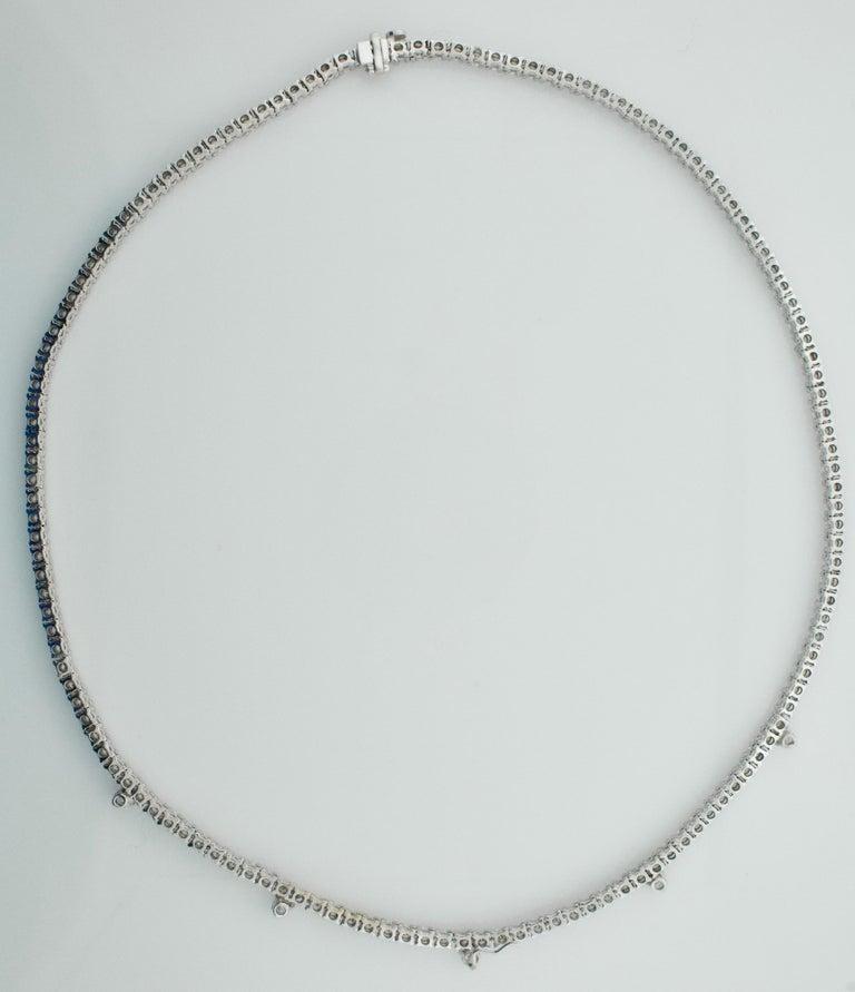 Women's or Men's Diamond Straight Line Necklace in 18 Karat 7.61 Carat For Sale