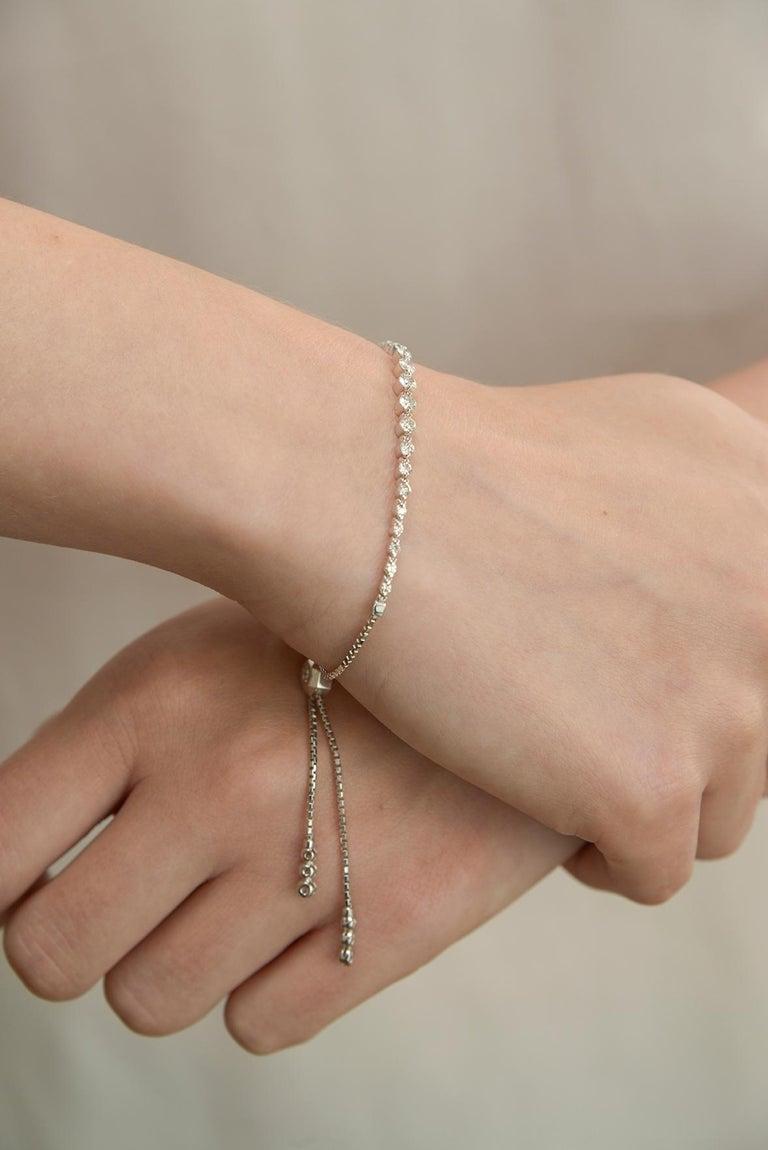 Women's or Men's Diamond String Bracelet For Sale