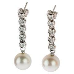 Diamond Stripe Australian Sea Pearl 18 Karat White Gold Stud Drop Earrings