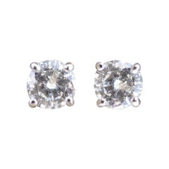 Diamond Stud Earrings, 0.26 Carat Each, in 18 Carat White Gold