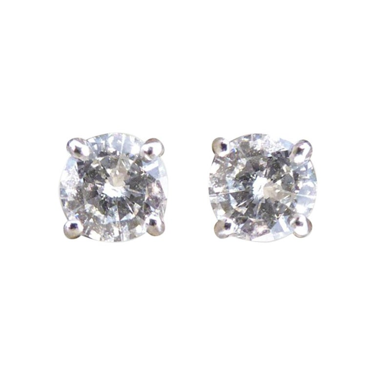 Diamond Stud Earrings 0 26 Carat Each In 18 White Gold