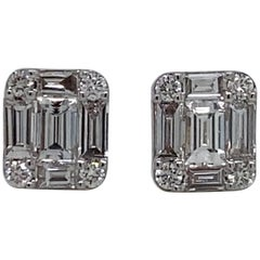 HARBOR D. Diamond Stud Earrings 0.64 Carat 18 Karat White Gold