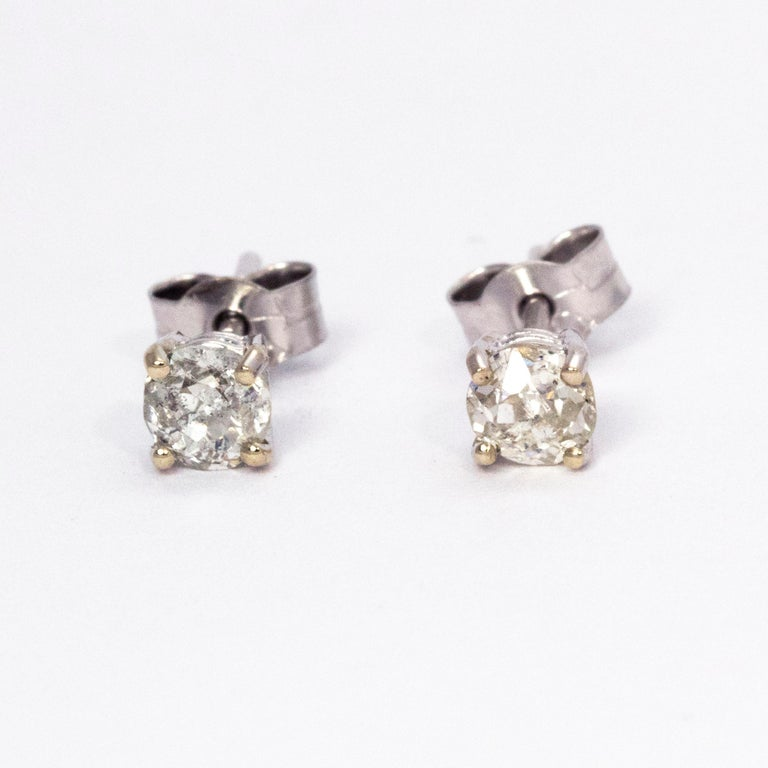 Diamond Stud Earrings 0 70 Total Carat Weight Set In 18 White Gold