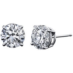 Diamond Stud Earrings 1.00 Carat with GIA Certificates 18K White Gold 4-Prong