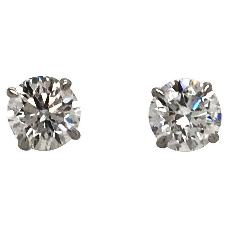 Diamond Stud Earrings 1.40 Carat E-F SI2 14 Karat White Gold For Sale