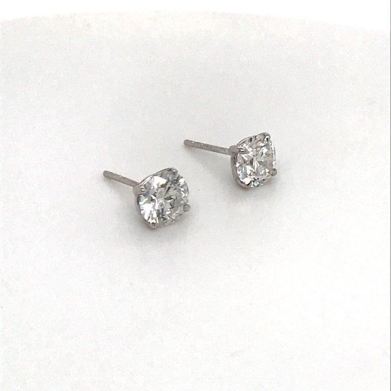 Round Cut Diamond Stud Earrings 1.40 G-H SI1 14 Karat White Gold For Sale