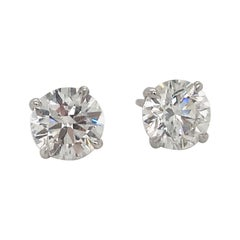 Diamond Stud Earrings 1.42 Carat F-G I1 14 Karat White Gold