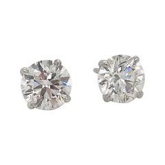 Diamond Stud Earrings 1.42 Carat F-G I1 14 Karat White Gold
