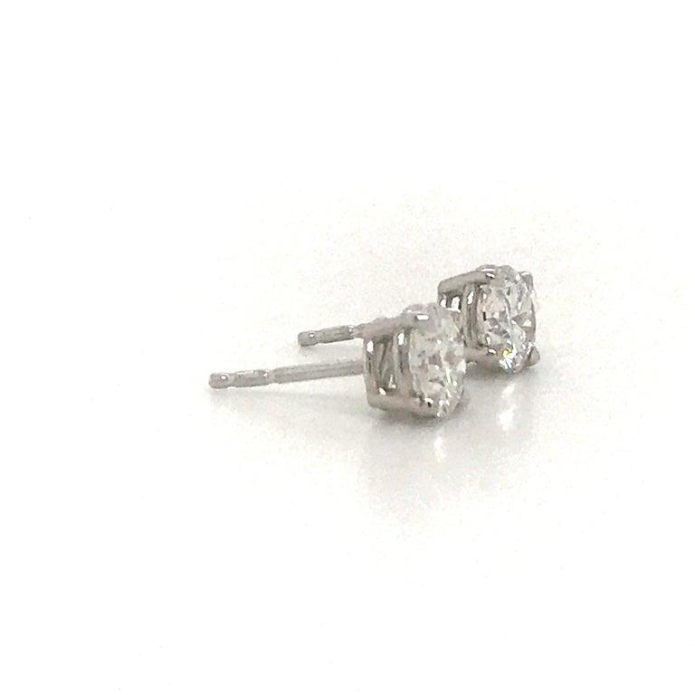 Round Cut Diamond Stud Earrings 1.43 Carat F-G SI3-I1 14 Karat White Gold For Sale