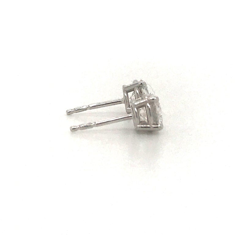 Diamond Stud Earrings 1.43 Carat F-G SI3-I1 14 Karat White Gold In New Condition For Sale In New York, NY