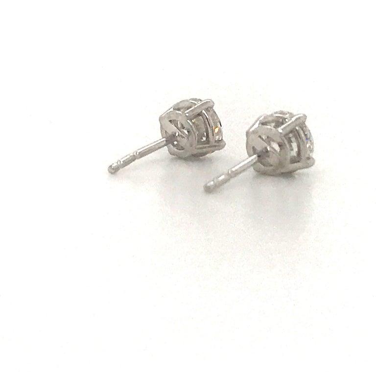 Women's or Men's Diamond Stud Earrings 1.43 Carat F-G SI3-I1 14 Karat White Gold For Sale
