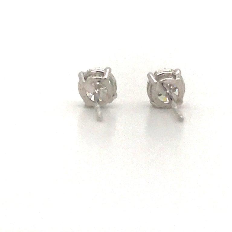Diamond Stud Earrings 1.43 Carat F-G SI3-I1 14 Karat White Gold For Sale 1