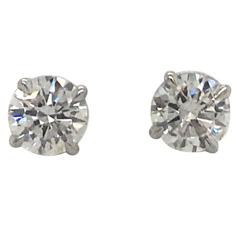 Diamond Stud Earrings 1.43 Carat F-G SI3-I1 14 Karat White Gold For Sale