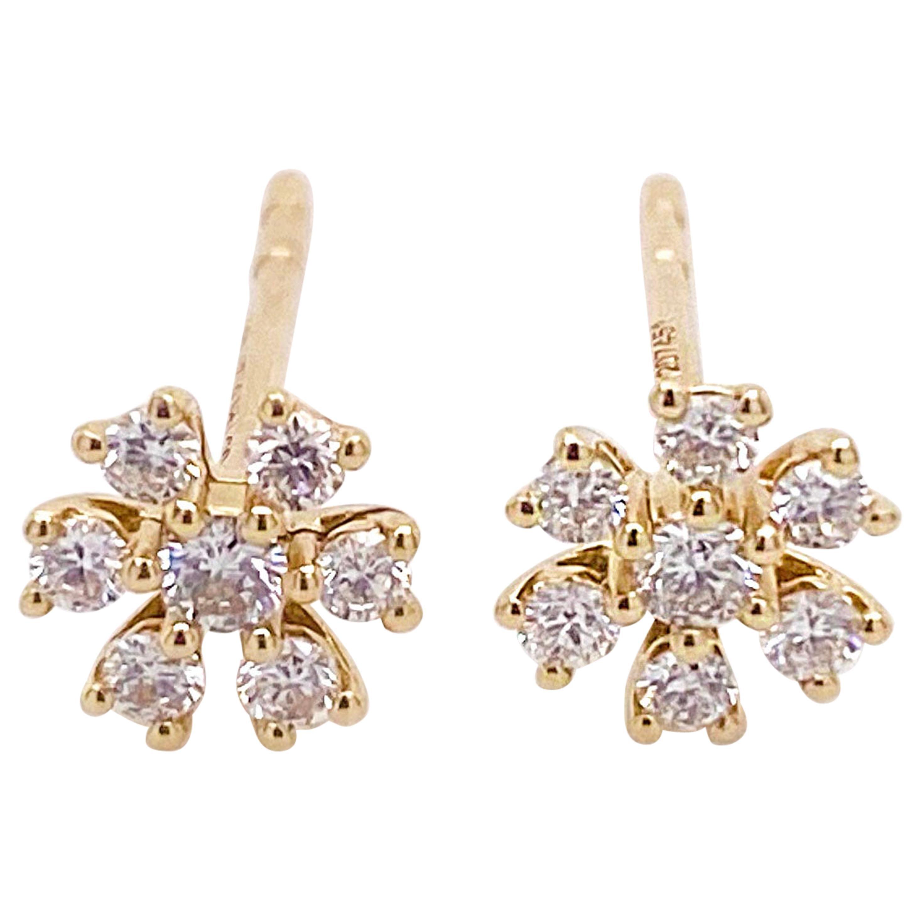 Diamond Stud Earrings, 14K Yellow Gold Diamond Earrings, Flower Diamond Cluster