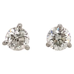 Diamond Stud Earrings 1.60 Carat E-F SI2-SI3 14 Karat White Gold
