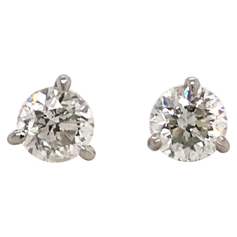 Diamond Stud Earrings 1.60 Carat E-F SI2-SI3 14 Karat White Gold For Sale
