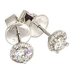 Diamond Stud Earrings 18k Gold Certified