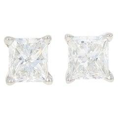 Diamond Stud Earrings, 18 Karat Gold Screw-On Pierced GIA Princess 1.55 Carat