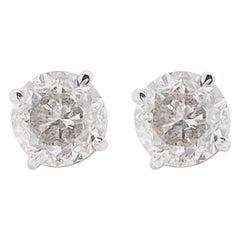 Diamond Stud Earrings, 18 Karat White Gold Round Studs, White Color, VG Clarity