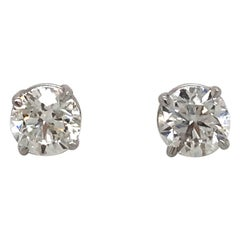 Diamond Stud Earrings 1.80 Carat I-J SI2 14 Karat White Gold
