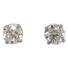 Diamond Stud Earrings 1.80 Carat I-J SI2 14 Karat White Gold