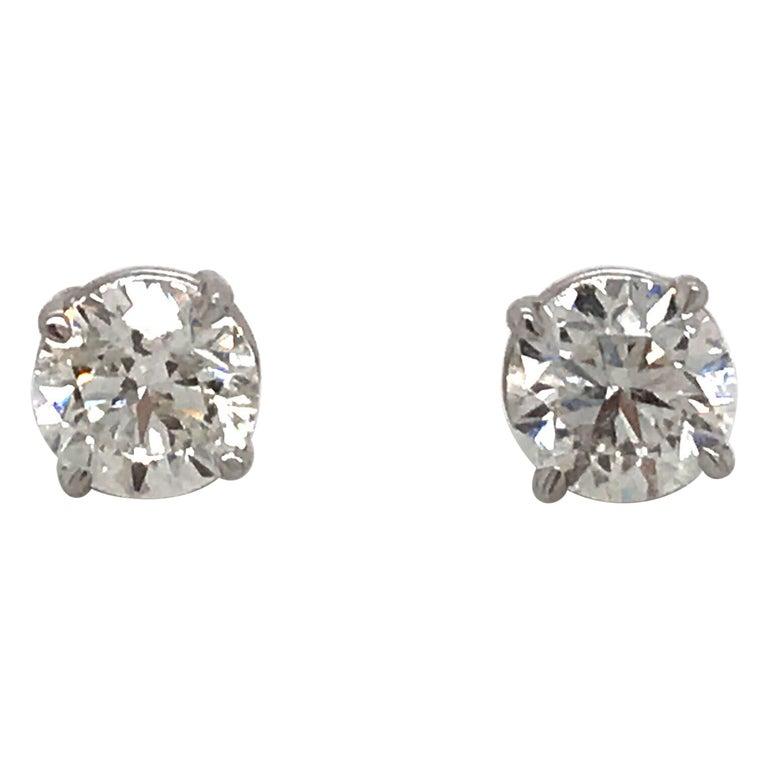 Diamond Stud Earrings 1.80 Carat I-J SI2 14 Karat White Gold For Sale