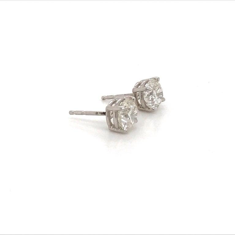 Contemporary Diamond Stud Earrings 1.80 Carat I-J SI2 14 Karat White Gold For Sale