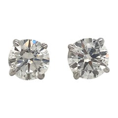 Diamond Stud Earrings 1.81 Carat G-H SI2-I1 14 Karat White Gold
