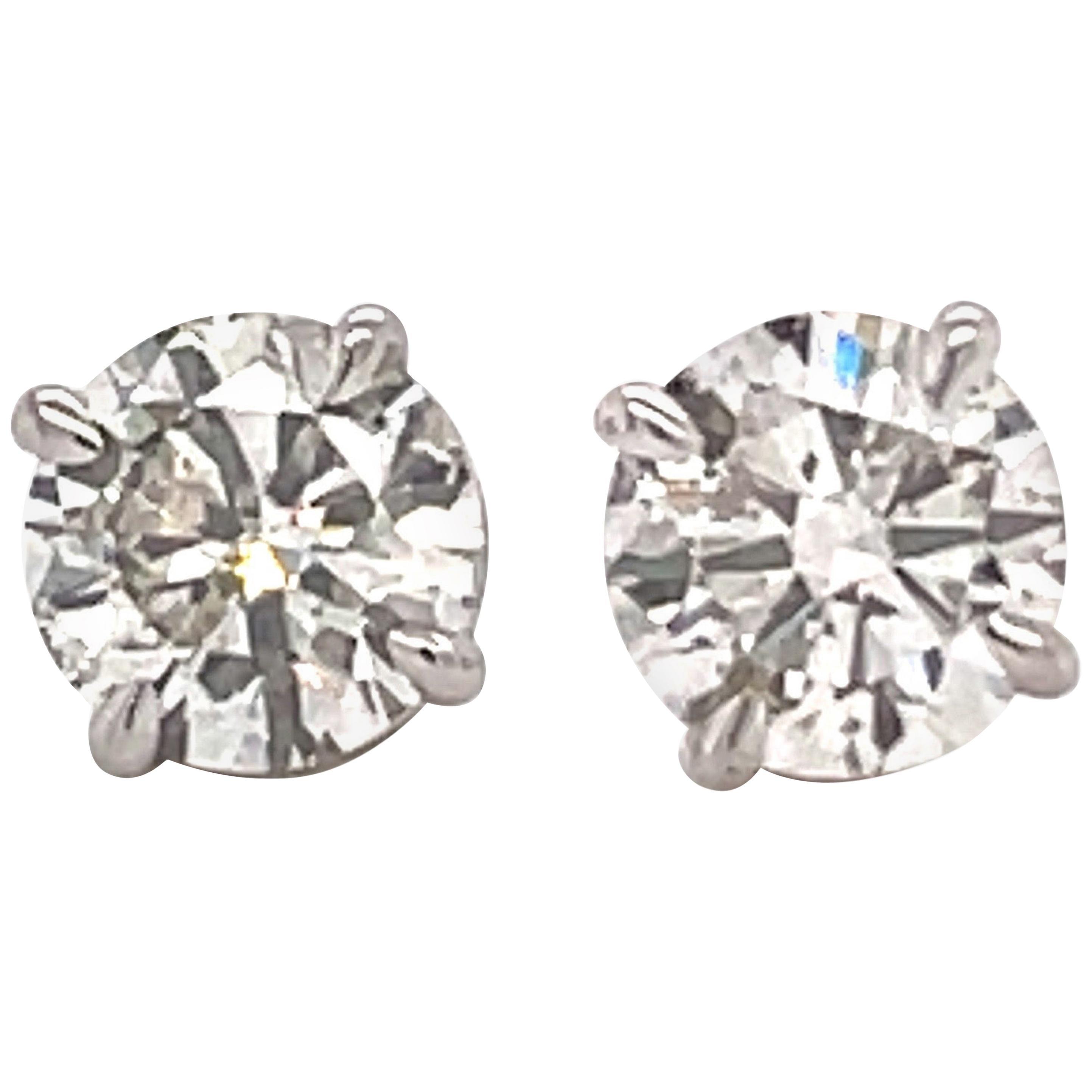 Diamond Stud Earrings 1.83 Carat J-K SI2-S13 14 Karat White Gold