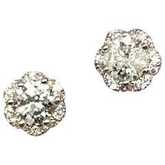 Diamond Stud Earrings 18k White Gold 0.5 TCW Certified