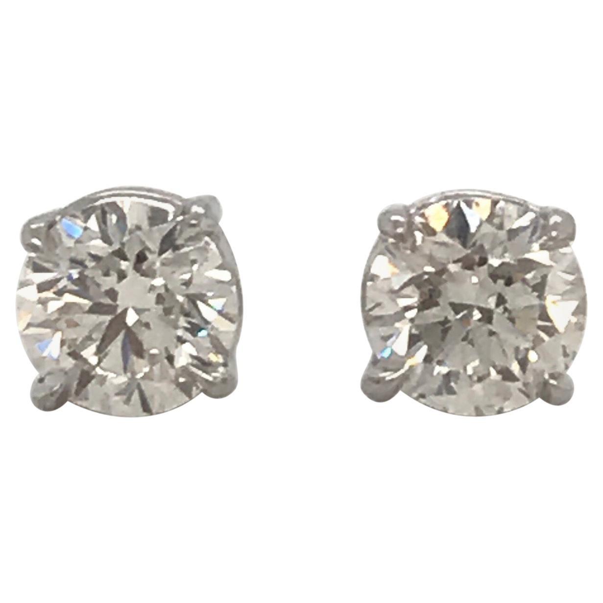 Diamond Stud Earrings 1.90 Carat F SI3-I1 14 Karat White Gold