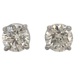 Diamond Stud Earrings 1.90 Carat F SI3-I1 14 Karat White Gold