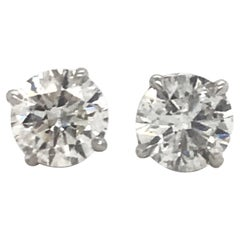 Diamond Stud Earrings 1.96 Carat H-I I1 18 Karat White Gold