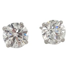Diamond Stud Earrings 1.97 Carat H I1 14 Karat White Gold