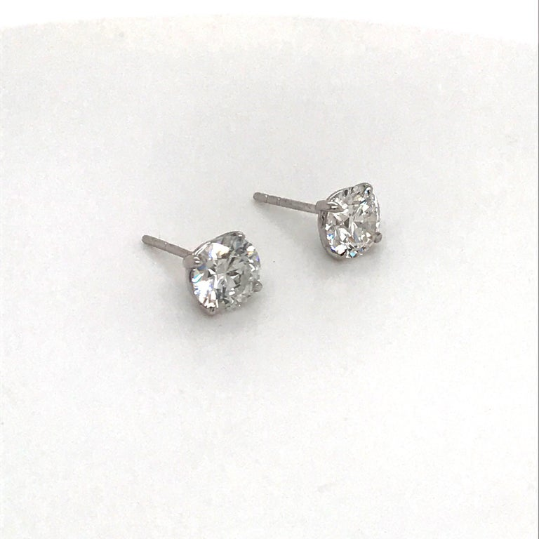 Diamond Stud Earrings 1.97 Carat H I1 14 Karat White Gold In New Condition For Sale In New York, NY