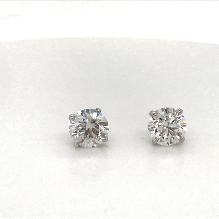 Women's or Men's Diamond Stud Earrings 1.97 Carat H I1 14 Karat White Gold For Sale