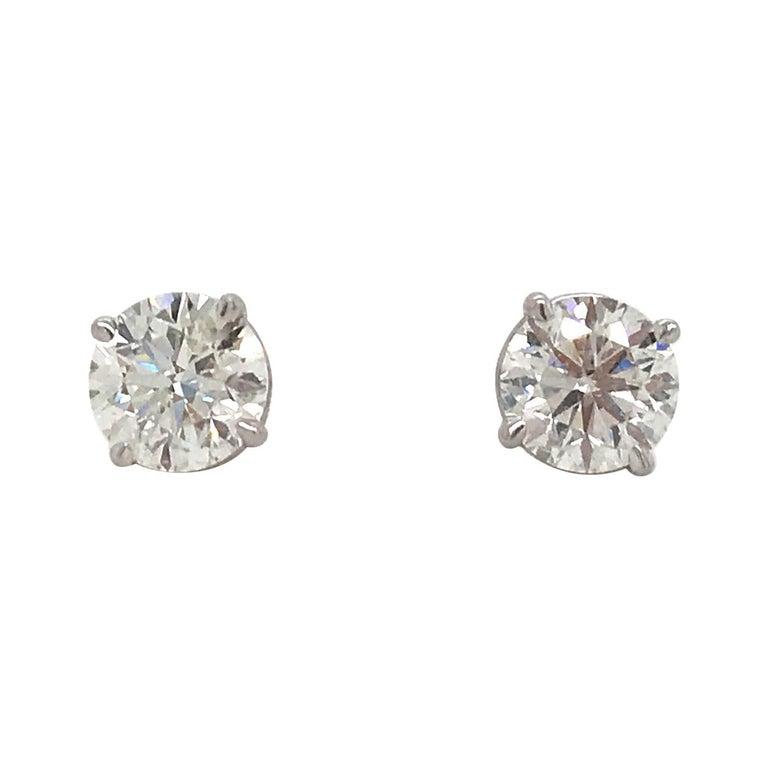 Diamond Stud Earrings 2.02 Carat G I1-I2 14 Karat White Gold For Sale