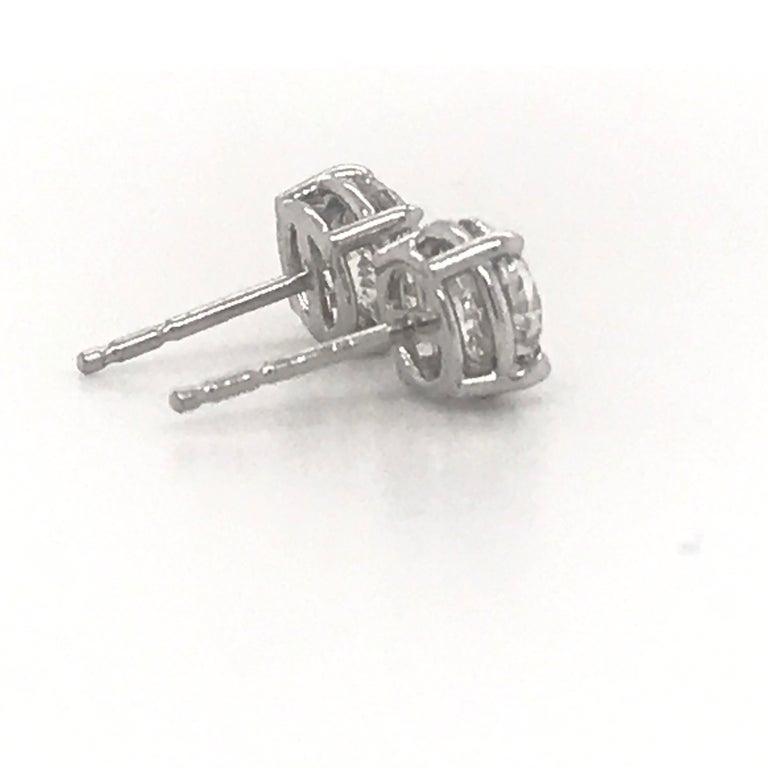 Women's or Men's Diamond Stud Earrings 2.02 Carat G-H SI3 14 Karat White Gold For Sale